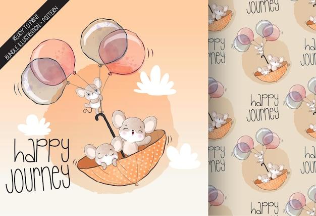Animal fofo coelho voando com balão padrão sem emenda