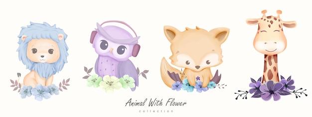 Animal fofo com coleção de flores