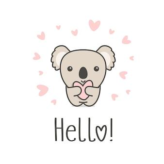 Animal fofo com coração e olá texto. coala sorridente segurando coração branco