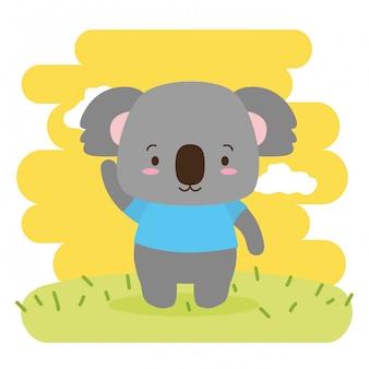 Animal fofo de coala, desenhos animados e estilo simples, ilustração
