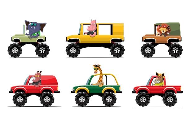 Animal fofo desenho animado dirigindo carro na estrada motorista de animais