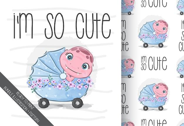 Animal fofo dino bebê com padrão uniforme