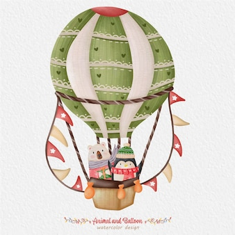 Animal fofo e ilustração em aquarela de balão, com o fundo de papel. para design, estampas, tecido ou plano de fundo