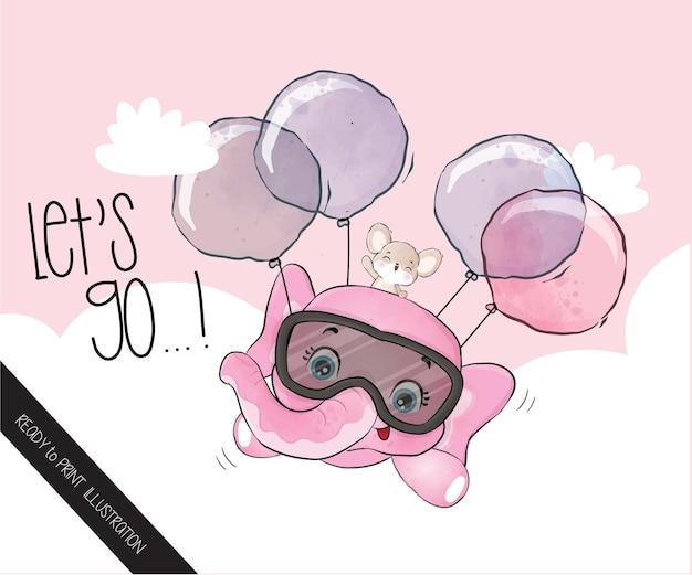 Animal fofo elefante bebê feliz voando com balão padrão sem emenda