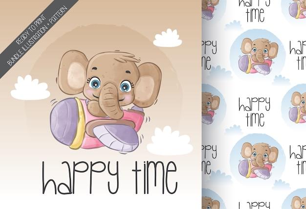 Animal fofo elefante bebê feliz voando com um avião com padrão sem emenda