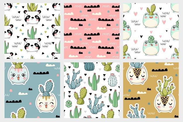 Animal fofo enfrenta potes com coleção de padrões sem emenda de cactos