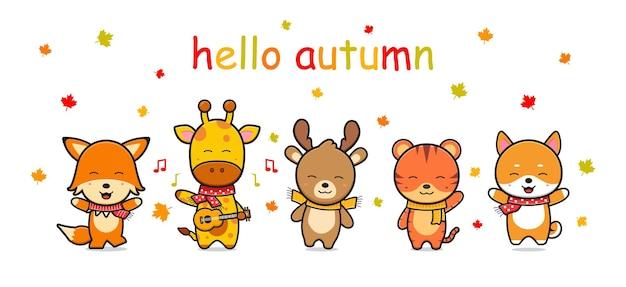 Animal fofo feliz no outono ícone de banner ilustração dos desenhos animados projeto isolado estilo cartoon plana