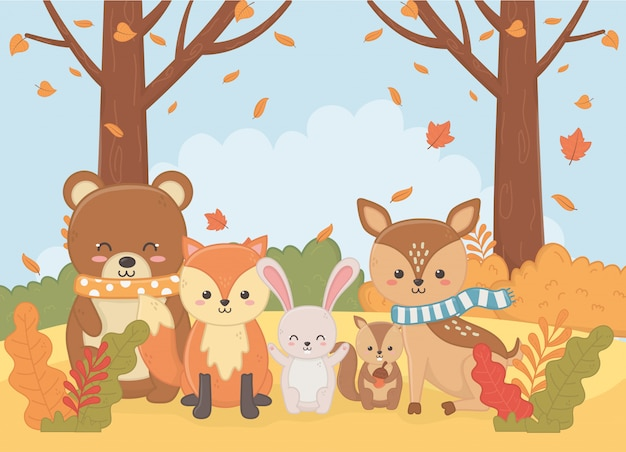 Animal fofo na temporada de outono