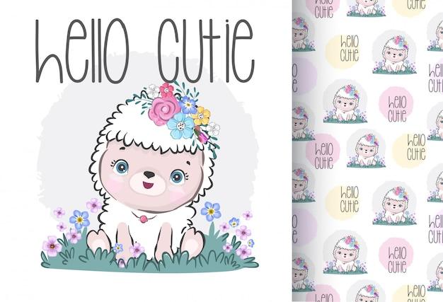 Animal fofo ovelha bebê com flores padrão sem emenda