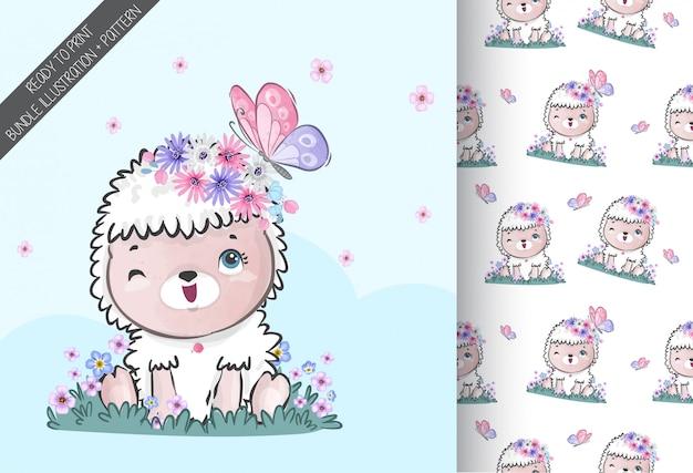 Animal fofo ovelha bebê com padrão sem emenda de borboleta