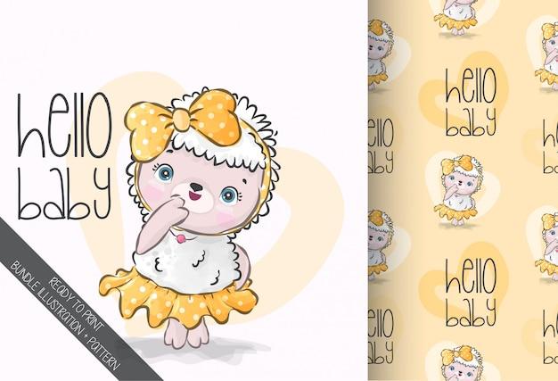 Animal fofo ovelha bebê com padrão sem emenda de gravata borboleta
