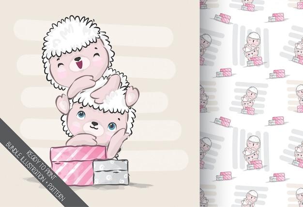 Animal fofo ovelha bebê com padrão sem emenda