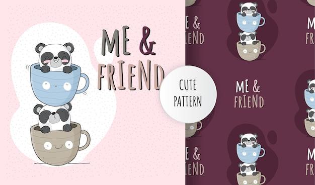 Animal fofo panda em conjunto padrão de xícara de café