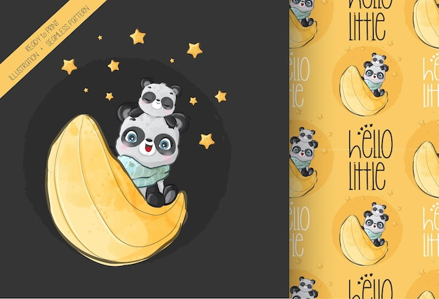 Animal fofo panda feliz na lua padrão sem emenda