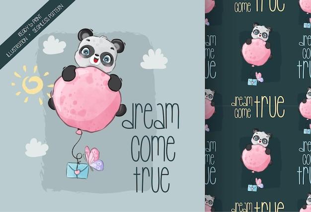 Animal fofo panda feliz voando com balão padrão sem emenda