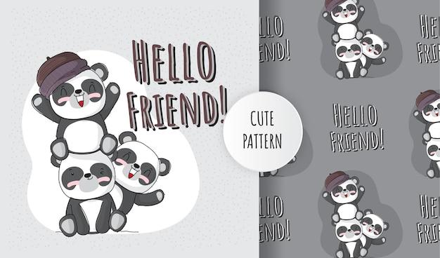Animal fofo panda plano com conjunto de padrões de amigos