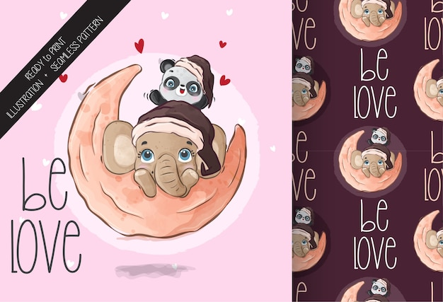 Animal fofo pandas bebê com elefante feliz no padrão sem emenda de lua. animal bonito dos desenhos animados.