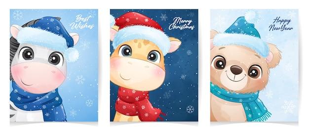 Animal fofo para o natal com ilustração em aquarela