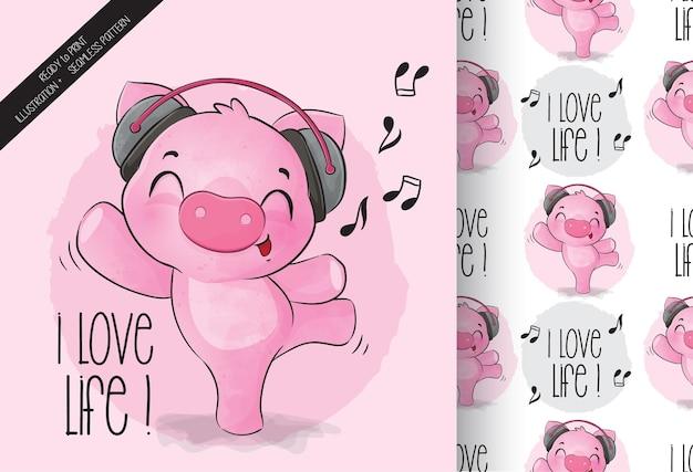 Animal fofo porco feliz dançando padrão sem emenda