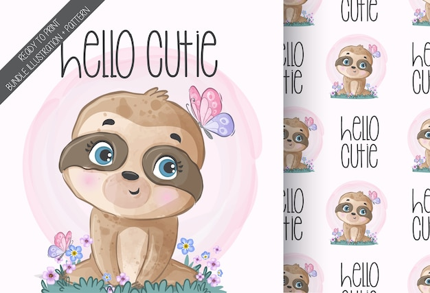 Animal fofo - preguiça bebê com padrão sem emenda de borboleta