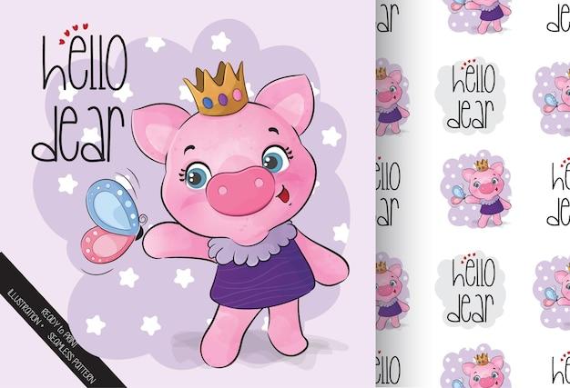 Animal fofo princesa porco com padrão sem emenda de borboleta