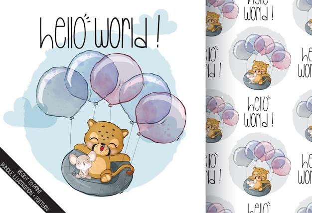 Animal fofo tigre voando com balão padrão sem emenda