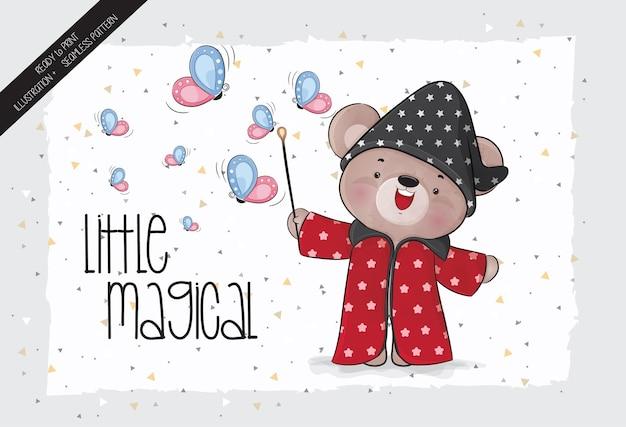 Animal fofo ursinho com varinha mágica e ilustração de borboleta