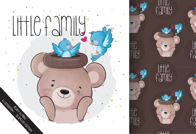Animal fofo urso com família de pássaros azuis