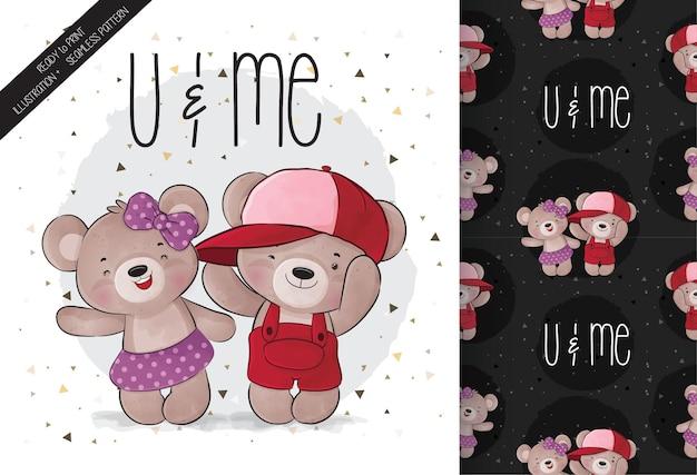 Animal fofo urso e amigo padrão sem emenda e cartão