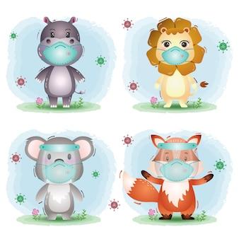 Animal fofo usando protetor facial e máscara: hipopótamo, leão, coala e raposa