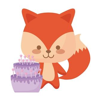 Animal fox fofo com bolo de aniversário