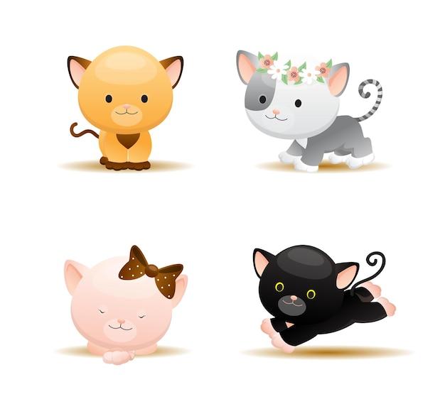 Animal gato fofo de desenho animado