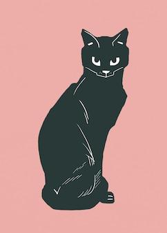 Animal gato preto com desenho de linogravura vintage