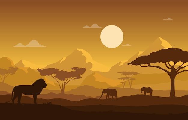 Animal leão elefante paisagem savana ilustração da vida selvagem de áfrica