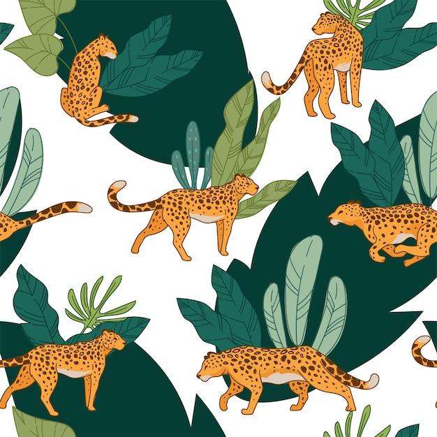 Animal leopardo selvagem correndo e caçando selva