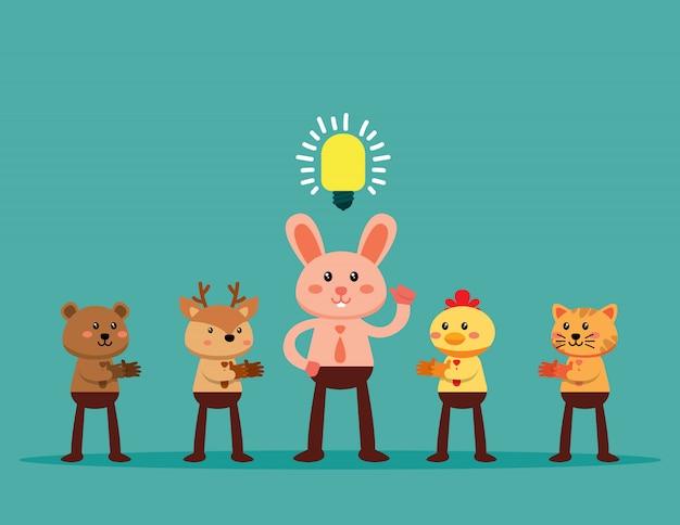 Animal líder com lâmpada de ideia no centro das atenções