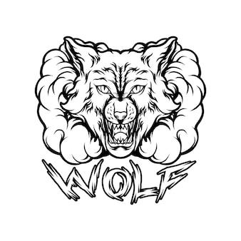 Animal lobo com silhueta de fumaça