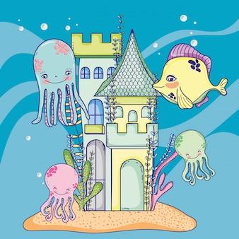 Animal mar, em, a, castelo, com, algas, plantas