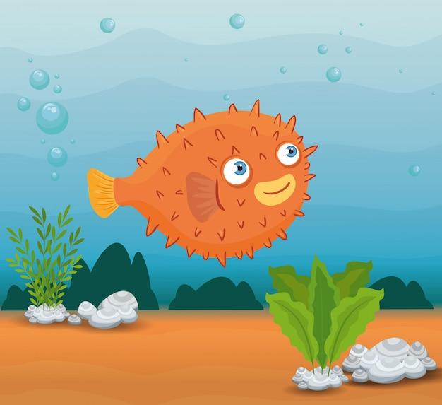 Animal marinho blowfish no oceano, morador do mundo do mar, criatura subaquática bonita, habitat marinho