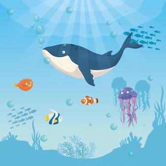 Animal marinho de baleia azul no oceano, com peixes ornamentais e águas-vivas, habitantes do mundo do mar, criaturas subaquáticas fofas, habitat marinho