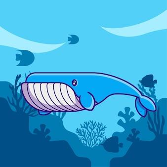 Animal marinho fofo baleia azul no oceano ilustração dos desenhos animados