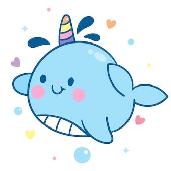 Animal marinho kawaii personagem bebê conto de fadas unicórnio narval