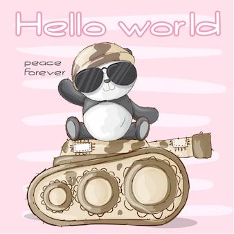 Animal militar de panda bonito-vetor