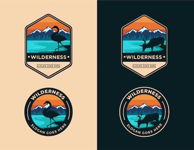 Animal no logotipo da paisagem selvagem definir modelo