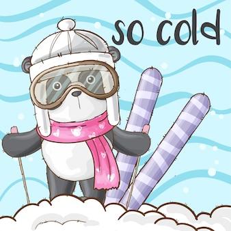 Animal panda bonito na neve-vetor