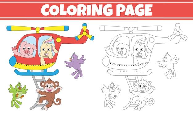 Animal para colorir andando de helicóptero