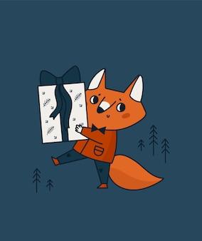 Animal pequeno bonito raposa com caixa de presente