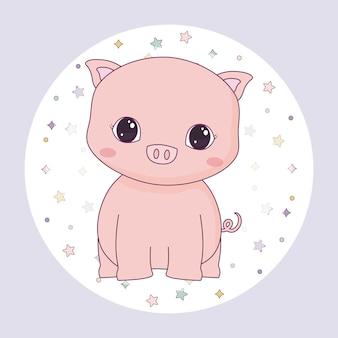 Animal porquinho fofo no quadro circular