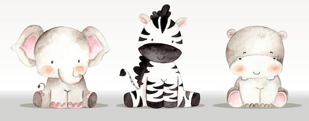 Animal safari definido ilustração em aquarela