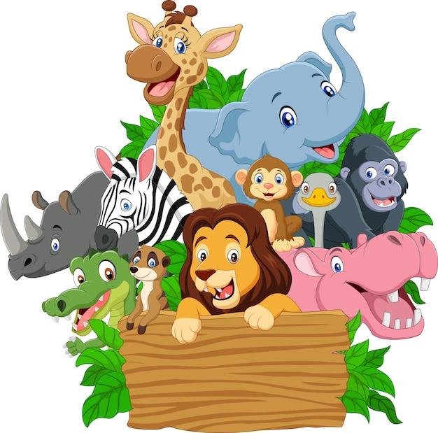 Animal selvagem dos desenhos animados com tabuleta em branco